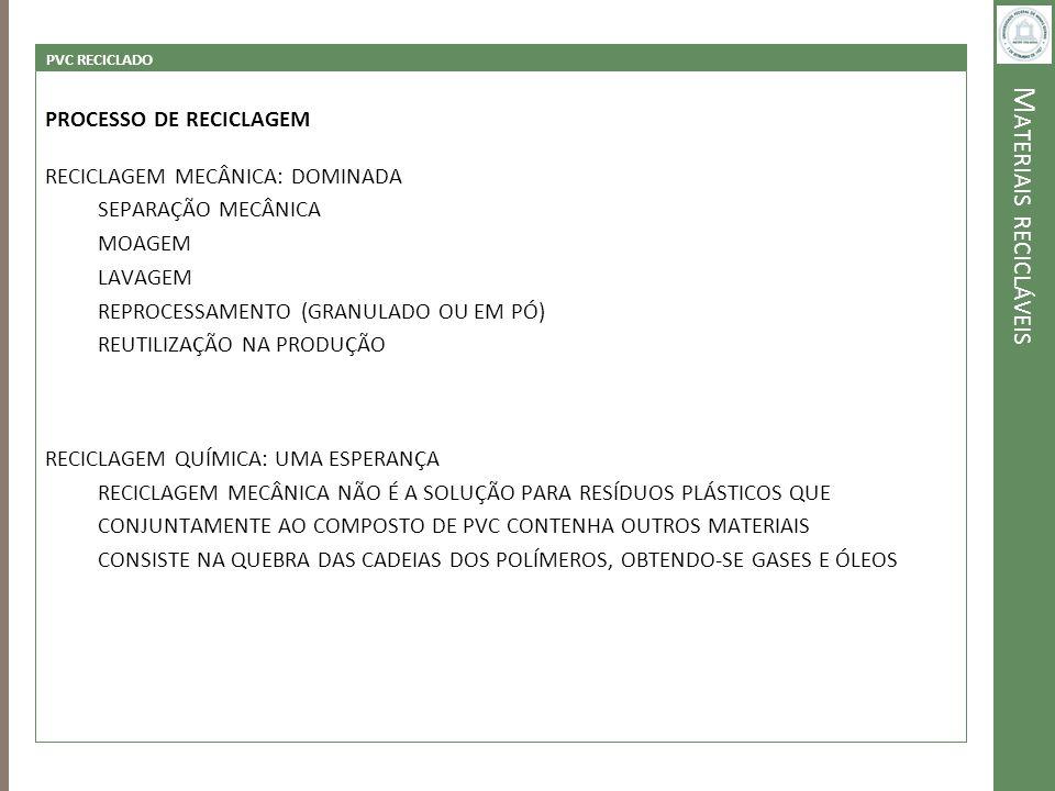 M ATERIAIS RECICLÁVEIS PVC RECICLADO PROCESSO DE RECICLAGEM RECICLAGEM MECÂNICA: DOMINADA SEPARAÇÃO MECÂNICA MOAGEM LAVAGEM REPROCESSAMENTO (GRANULADO