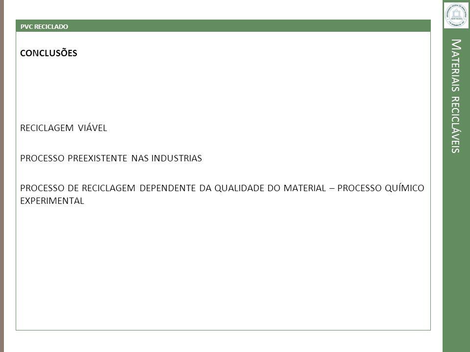 M ATERIAIS RECICLÁVEIS PVC RECICLADO CONCLUSÕES RECICLAGEM VIÁVEL PROCESSO PREEXISTENTE NAS INDUSTRIAS PROCESSO DE RECICLAGEM DEPENDENTE DA QUALIDADE