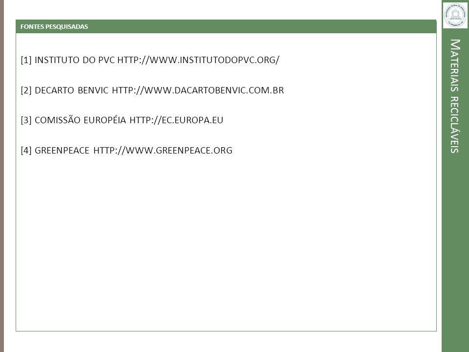 M ATERIAIS RECICLÁVEIS FONTES PESQUISADAS [1] INSTITUTO DO PVC HTTP://WWW.INSTITUTODOPVC.ORG/ [2] DECARTO BENVIC HTTP://WWW.DACARTOBENVIC.COM.BR [3] C