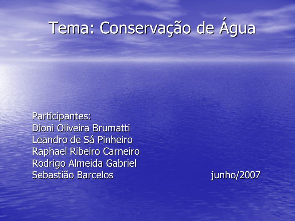 Tema: Conservação de Água Participantes: Dioni Oliveira Brumatti Leandro de Sá Pinheiro Raphael Ribeiro Carneiro Rodrigo Almeida Gabriel Sebastião Bar