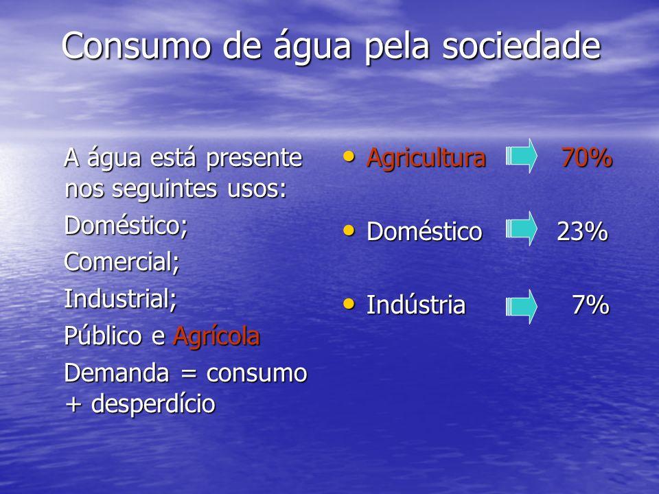 A água está presente nos seguintes usos: A água está presente nos seguintes usos: Doméstico; Doméstico; Comercial; Comercial; Industrial; Industrial;