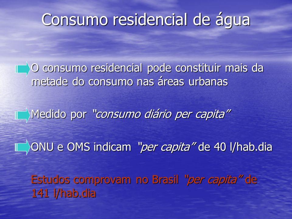 Consumo residencial de água Consumo residencial de água O consumo residencial pode constituir mais da metade do consumo nas áreas urbanas O consumo re