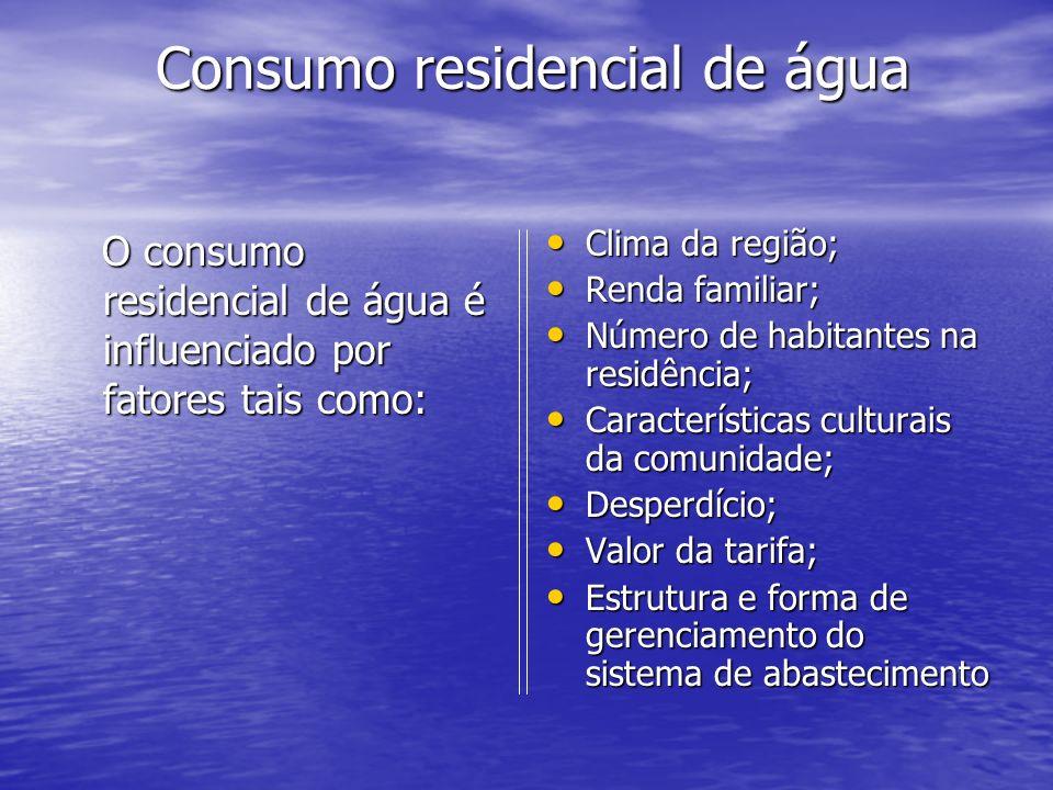 Consumo residencial de água Consumo residencial de água O consumo residencial de água é influenciado por fatores tais como: O consumo residencial de á