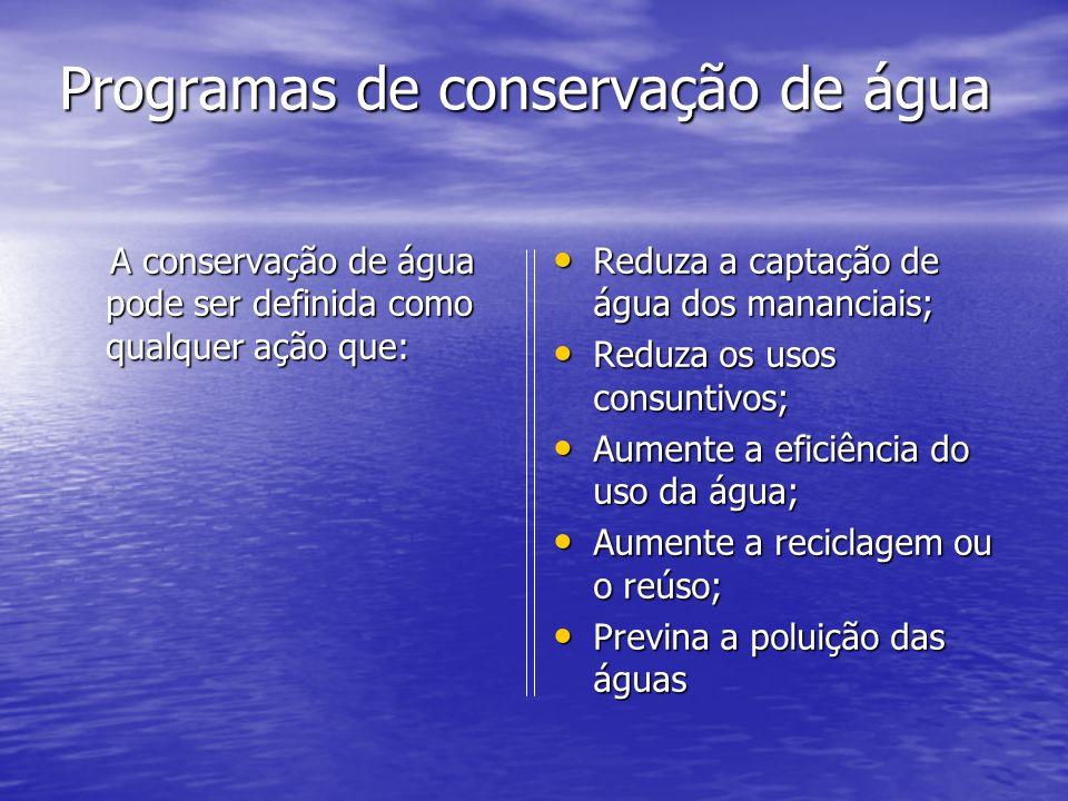 Programas de conservação de água Programas de conservação de água A conservação de água pode ser definida como qualquer ação que: A conservação de águ