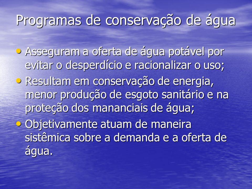 Programas de conservação de água Programas de conservação de água Asseguram a oferta de água potável por evitar o desperdício e racionalizar o uso; As