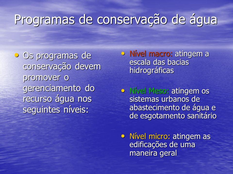 Programas de conservação de água Os programas de conservação devem promover o gerenciamento do recurso água nos seguintes níveis: Os programas de cons