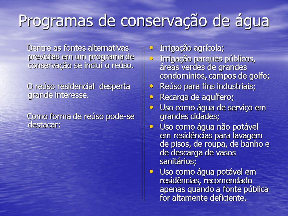 Programas de conservação de água Programas de conservação de água Dentre as fontes alternativas previstas em um programa de conservação se inclui o re