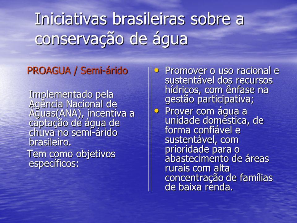 Iniciativas brasileiras sobre a conservação de água PROAGUA / Semi-árido PROAGUA / Semi-árido Implementado pela Agência Nacional de Águas(ANA), incent