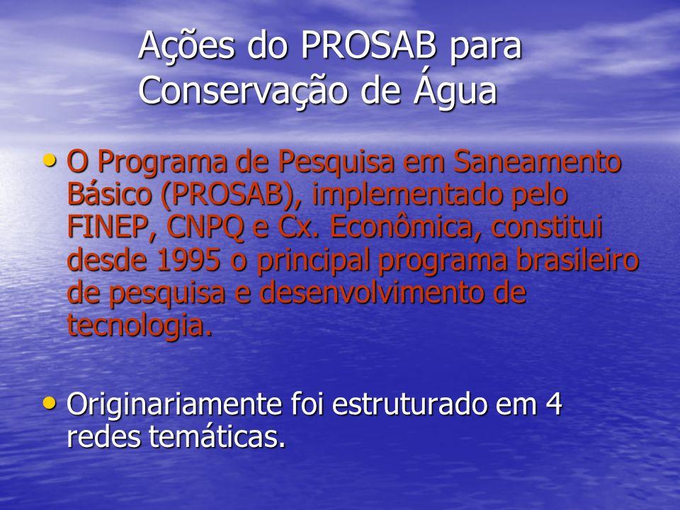 Ações do PROSAB para Conservação de Água O Programa de Pesquisa em Saneamento Básico (PROSAB), implementado pelo FINEP, CNPQ e Cx. Econômica, constitu