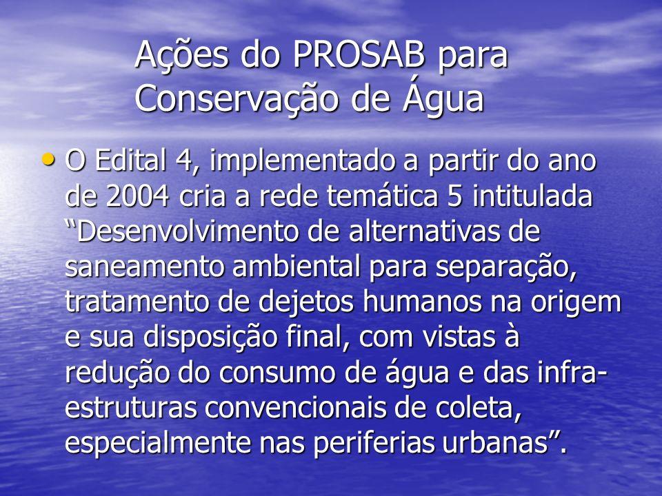 Ações do PROSAB para Conservação de Água O Edital 4, implementado a partir do ano de 2004 cria a rede temática 5 intitulada Desenvolvimento de alterna