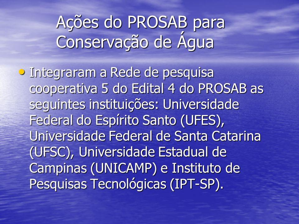 Ações do PROSAB para Conservação de Água Integraram a Rede de pesquisa cooperativa 5 do Edital 4 do PROSAB as seguintes instituições: Universidade Fed