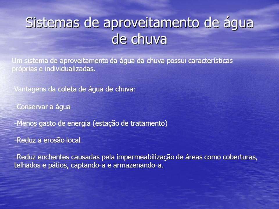 Sistemas de aproveitamento de água de chuva Um sistema de aproveitamento da água da chuva possui características próprias e individualizadas. Vantagen