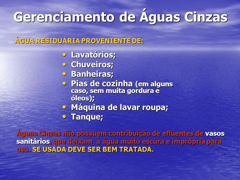 Gerenciamento de Águas Cinzas Gerenciamento de Águas Cinzas Águas Cinzas não possuem contribuição de efluentes de vasos sanitários, que deixam a água