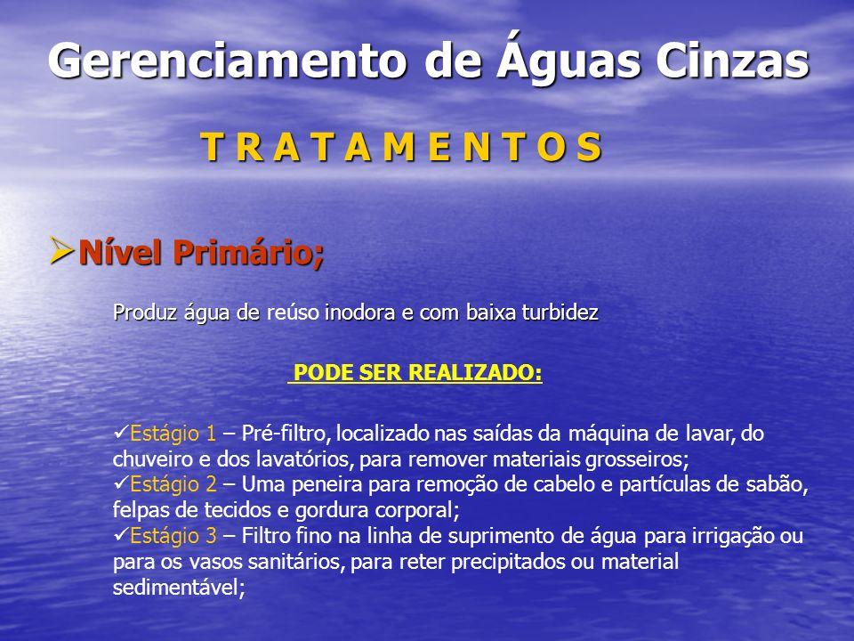 Gerenciamento de Águas Cinzas Gerenciamento de Águas Cinzas T R A T A M E N T O S Nível Primário; Nível Primário; Produz água de inodora e com baixa t