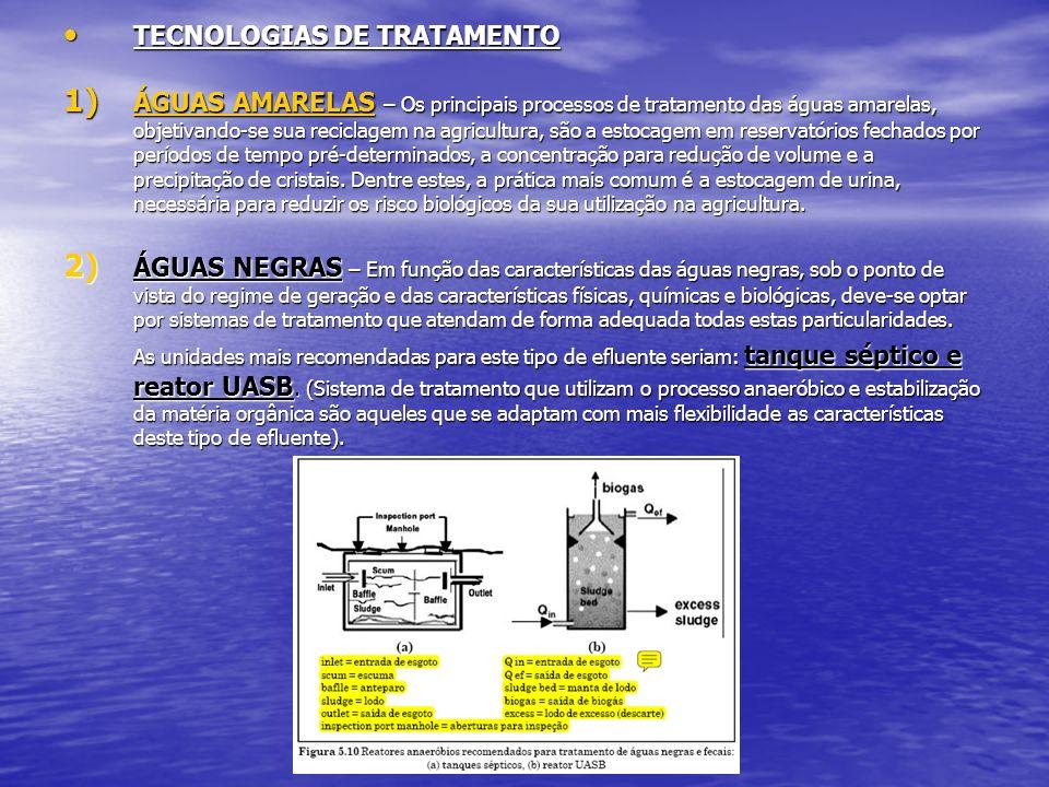 TECNOLOGIAS DE TRATAMENTO TECNOLOGIAS DE TRATAMENTO 1) ÁGUAS AMARELAS – Os principais processos de tratamento das águas amarelas, objetivando-se sua r