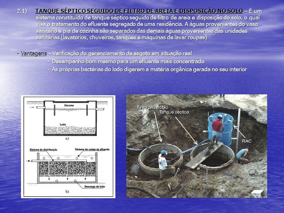 2.1) TANQUE SÉPTICO SEGUIDO DE FILTRO DE AREIA E DISPOSIÇÃO NO SOLO – É um sistema constituído de tanque séptico seguido de filtro de areia e disposiç