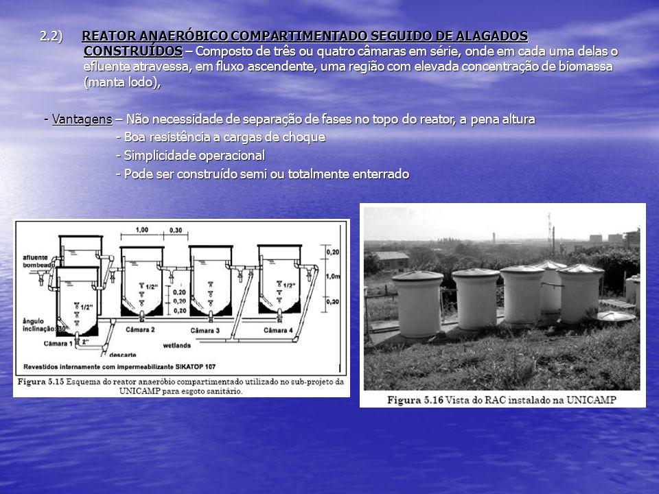 2.2) REATOR ANAERÓBICO COMPARTIMENTADO SEGUIDO DE ALAGADOS CONSTRUÍDOS – Composto de três ou quatro câmaras em série, onde em cada uma delas o efluent