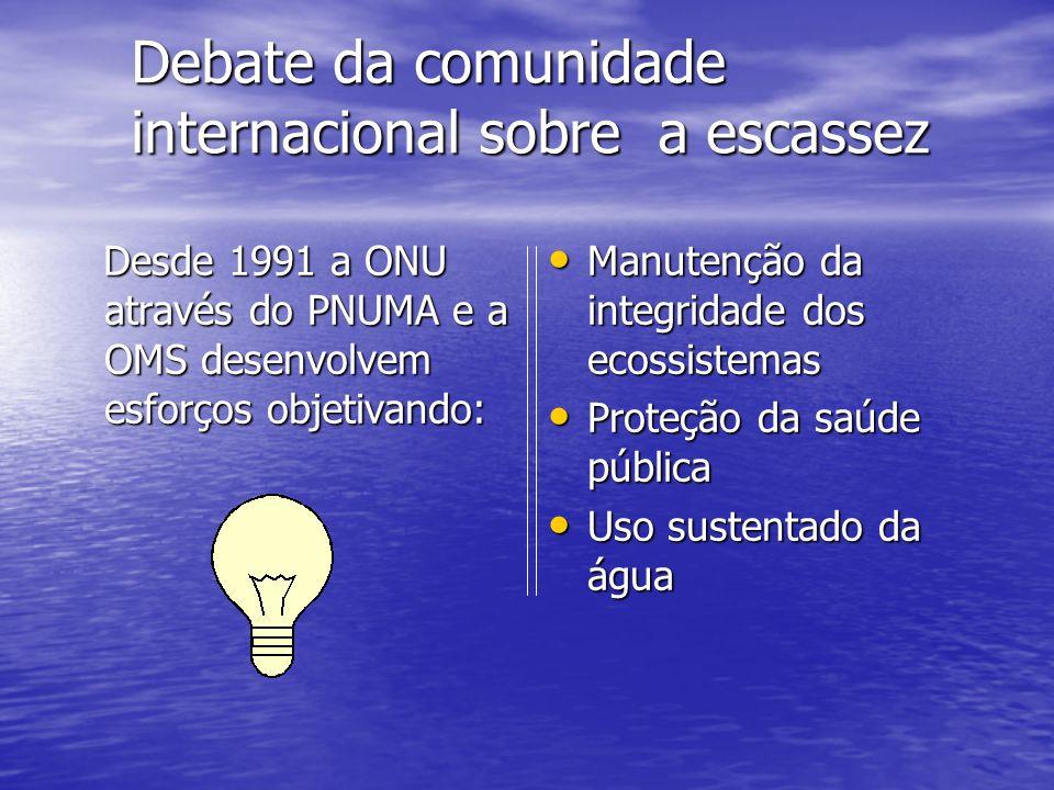 Debate da comunidade internacional sobre a escassez Desde 1991 a ONU através do PNUMA e a OMS desenvolvem esforços objetivando: Desde 1991 a ONU atrav