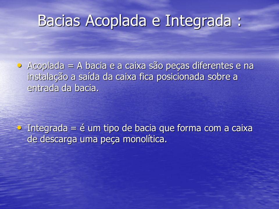 Bacias Acoplada e Integrada : Acoplada = A bacia e a caixa são peças diferentes e na instalação a saída da caixa fica posicionada sobre a entrada da b