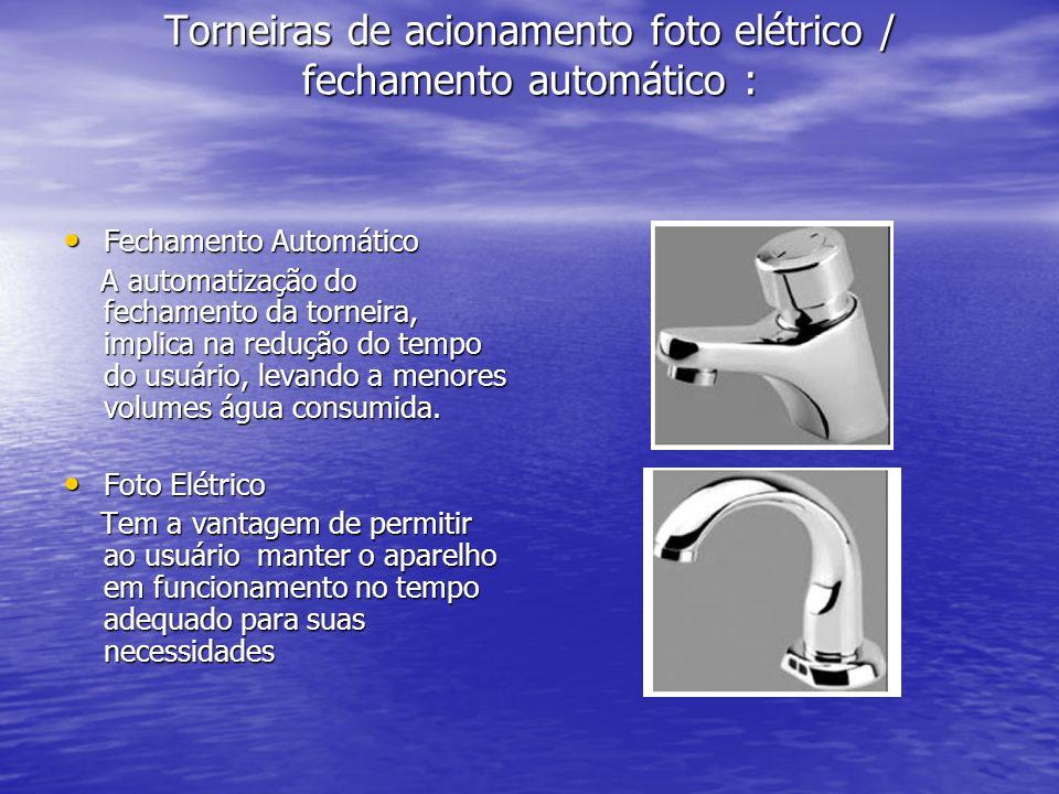 Torneiras de acionamento foto elétrico / fechamento automático : Fechamento Automático Fechamento Automático A automatização do fechamento da torneira