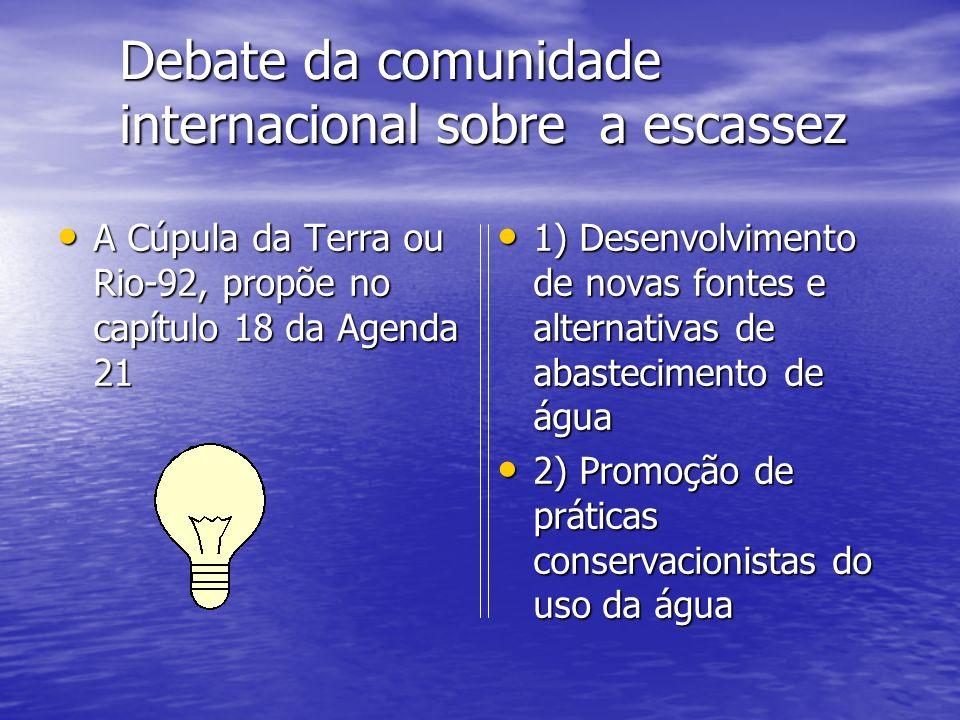 Debate da comunidade internacional sobre a escassez A Cúpula da Terra ou Rio-92, propõe no capítulo 18 da Agenda 21 A Cúpula da Terra ou Rio-92, propõ
