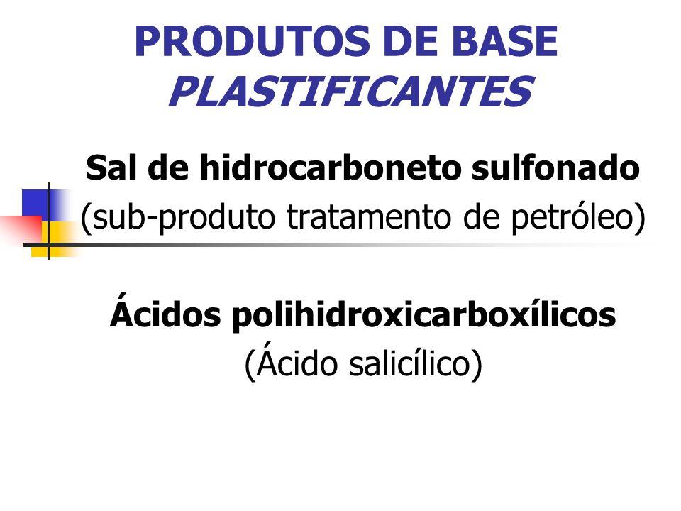 PRODUTOS DE BASE PLASTIFICANTES Sal de hidrocarboneto sulfonado (sub-produto tratamento de petróleo) Ácidos polihidroxicarboxílicos (Ácido salicílico)