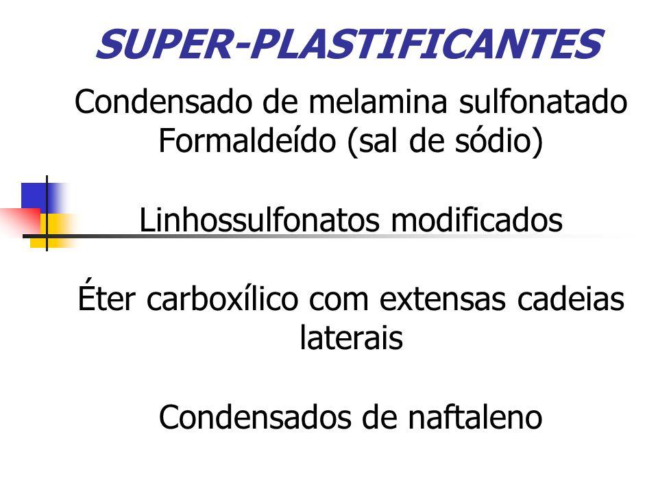 SUPER-PLASTIFICANTES Condensado de melamina sulfonatado Formaldeído (sal de sódio) Linhossulfonatos modificados Éter carboxílico com extensas cadeias laterais Condensados de naftaleno