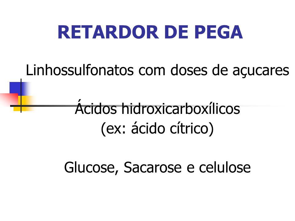 RETARDOR DE PEGA Linhossulfonatos com doses de açucares Ácidos hidroxicarboxílicos (ex: ácido cítrico) Glucose, Sacarose e celulose