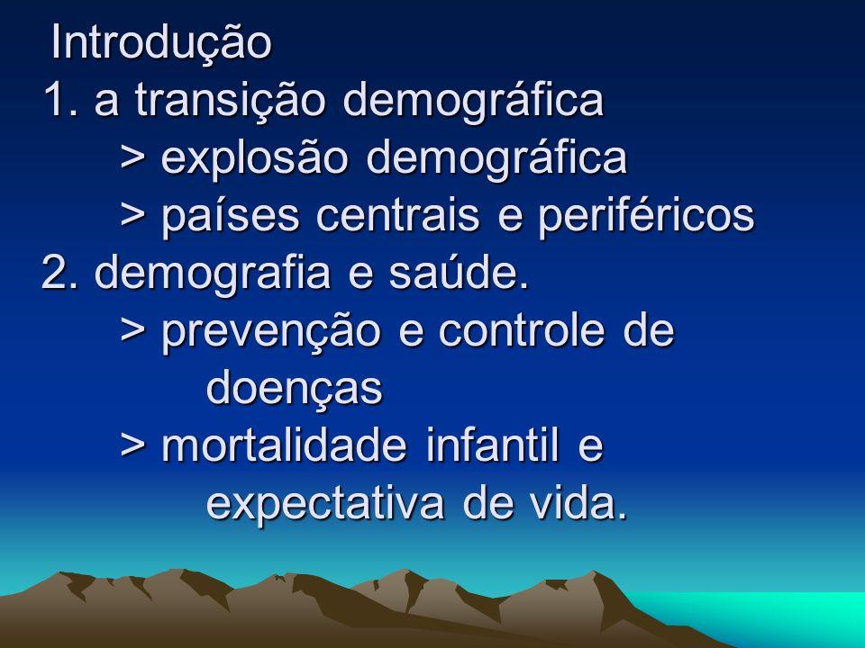 Introdução 1. a transição demográfica > explosão demográfica > países centrais e periféricos 2. demografia e saúde. > prevenção e controle de doenças
