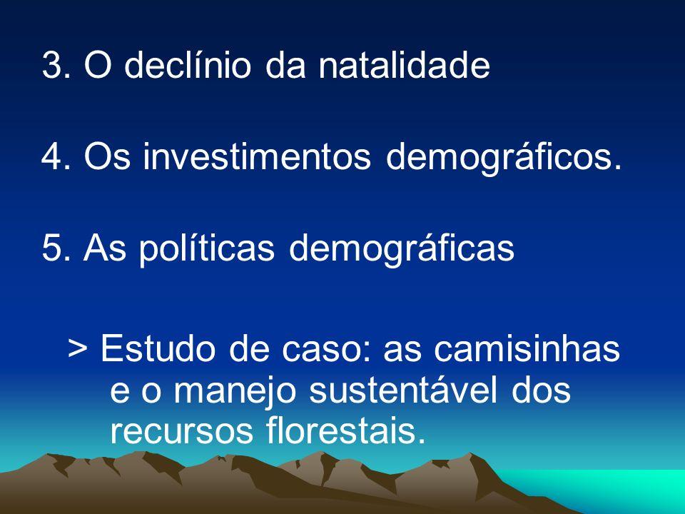 3. O declínio da natalidade 4. Os investimentos demográficos. 5. As políticas demográficas > Estudo de caso: as camisinhas e o manejo sustentável dos
