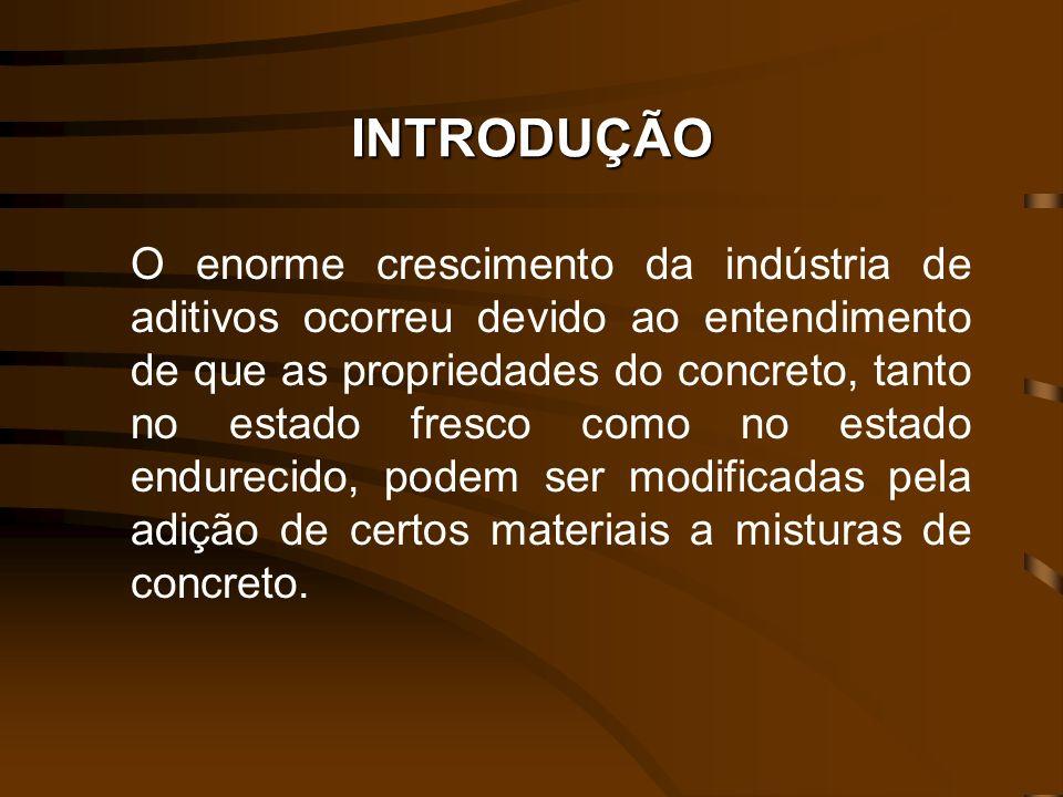 INTRODUÇÃO O enorme crescimento da indústria de aditivos ocorreu devido ao entendimento de que as propriedades do concreto, tanto no estado fresco com