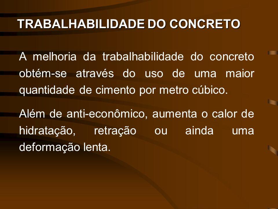 TRABALHABILIDADE DO CONCRETO A melhoria da trabalhabilidade do concreto obtém-se através do uso de uma maior quantidade de cimento por metro cúbico. A