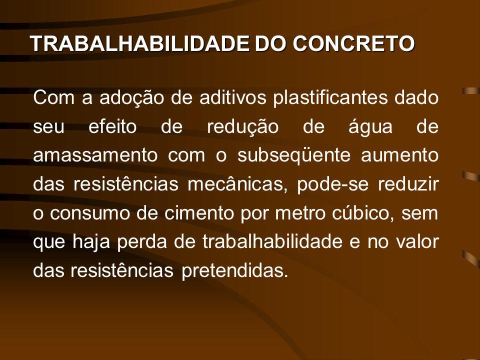 TRABALHABILIDADE DO CONCRETO Com a adoção de aditivos plastificantes dado seu efeito de redução de água de amassamento com o subseqüente aumento das r
