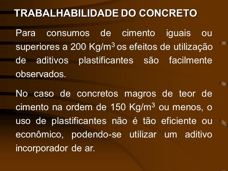 TRABALHABILIDADE DO CONCRETO Para consumos de cimento iguais ou superiores a 200 Kg/m 3 os efeitos de utilização de aditivos plastificantes são facilm