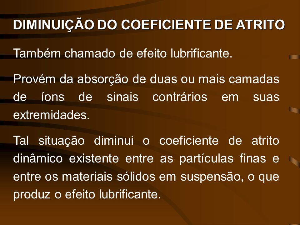 DIMINUIÇÃO DO COEFICIENTE DE ATRITO Também chamado de efeito lubrificante. Provém da absorção de duas ou mais camadas de íons de sinais contrários em