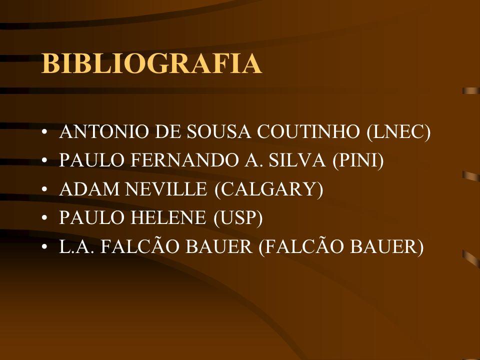 BIBLIOGRAFIA ANTONIO DE SOUSA COUTINHO (LNEC) PAULO FERNANDO A. SILVA (PINI) ADAM NEVILLE (CALGARY) PAULO HELENE (USP) L.A. FALCÃO BAUER (FALCÃO BAUER