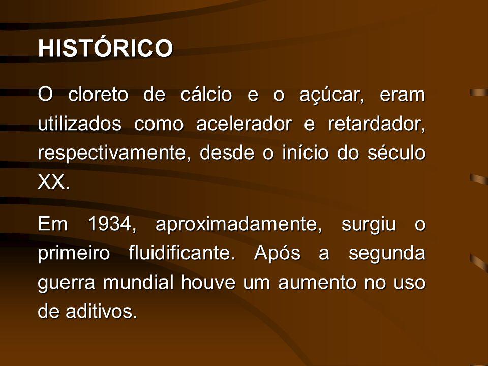 HISTÓRICO O cloreto de cálcio e o açúcar, eram utilizados como acelerador e retardador, respectivamente, desde o início do século XX. Em 1934, aproxim