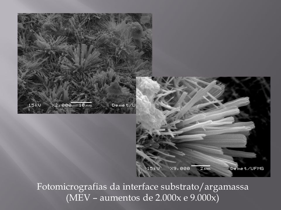 Fotomicrografias da interface substrato/argamassa (MEV – aumentos de 2.000x e 9.000x)