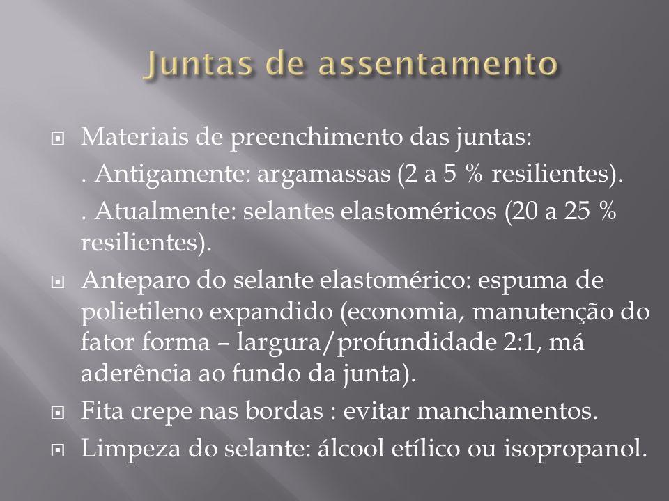 Materiais de preenchimento das juntas:. Antigamente: argamassas (2 a 5 % resilientes).. Atualmente: selantes elastoméricos (20 a 25 % resilientes). An