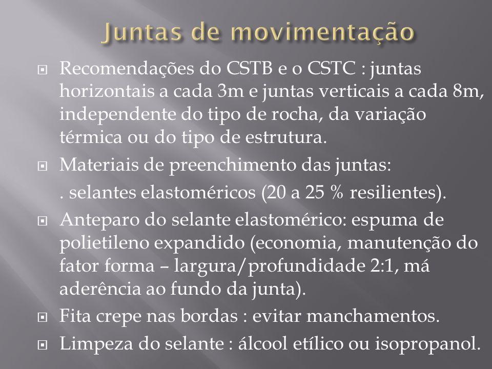 Recomendações do CSTB e o CSTC : juntas horizontais a cada 3m e juntas verticais a cada 8m, independente do tipo de rocha, da variação térmica ou do t