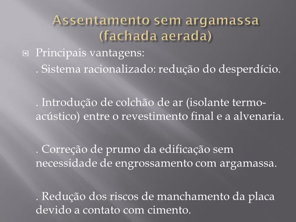 Principais vantagens:. Sistema racionalizado: redução do desperdício.. Introdução de colchão de ar (isolante termo- acústico) entre o revestimento fin