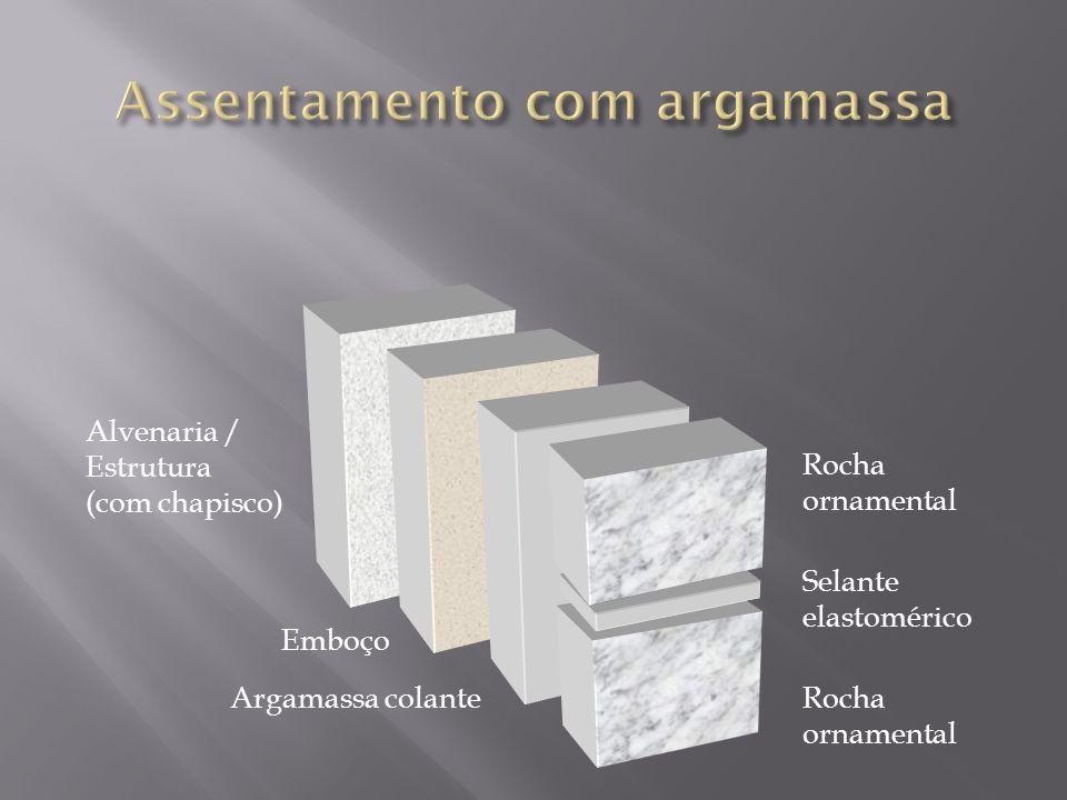 Alvenaria / Estrutura (com chapisco) Emboço Argamassa colante Rocha ornamental Selante elastomérico Rocha ornamental