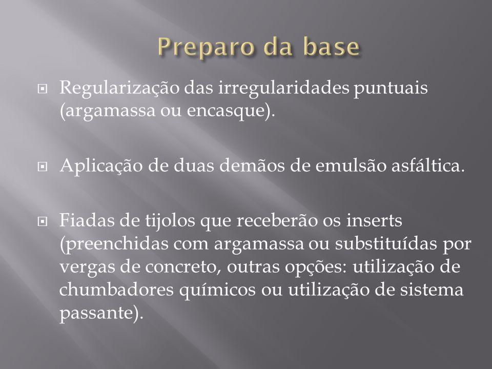 Regularização das irregularidades puntuais (argamassa ou encasque). Aplicação de duas demãos de emulsão asfáltica. Fiadas de tijolos que receberão os