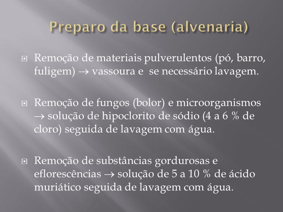 Remoção de materiais pulverulentos (pó, barro, fuligem) vassoura e se necessário lavagem. Remoção de fungos (bolor) e microorganismos solução de hipoc
