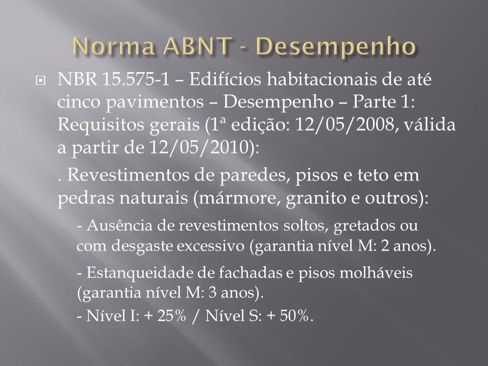 NBR 15.575-1 – Edifícios habitacionais de até cinco pavimentos – Desempenho – Parte 1: Requisitos gerais (1ª edição: 12/05/2008, válida a partir de 12