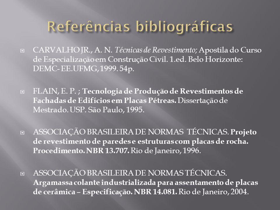CARVALHO JR., A. N. Técnicas de Revestimento; Apostila do Curso de Especialização em Construção Civil. 1.ed. Belo Horizonte: DEMC- EE.UFMG, 1999. 54p.