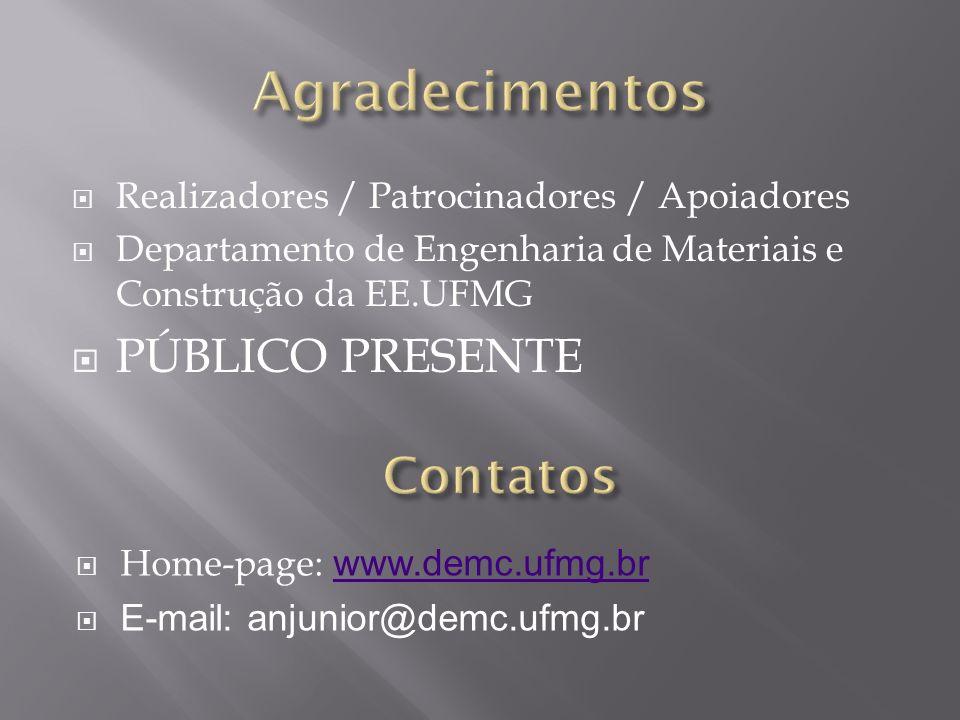 Realizadores / Patrocinadores / Apoiadores Departamento de Engenharia de Materiais e Construção da EE.UFMG PÚBLICO PRESENTE Home-page: www.demc.ufmg.b