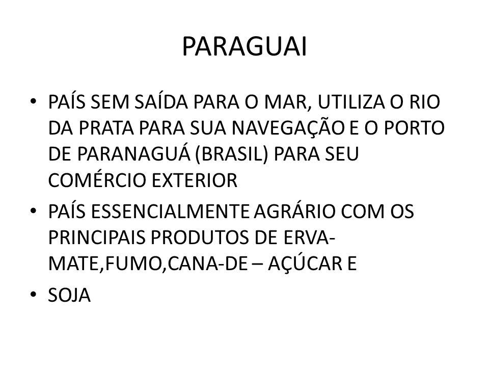 PARAGUAI PAÍS SEM SAÍDA PARA O MAR, UTILIZA O RIO DA PRATA PARA SUA NAVEGAÇÃO E O PORTO DE PARANAGUÁ (BRASIL) PARA SEU COMÉRCIO EXTERIOR PAÍS ESSENCIA