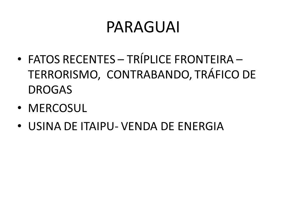 PARAGUAI FATOS RECENTES – TRÍPLICE FRONTEIRA – TERRORISMO, CONTRABANDO, TRÁFICO DE DROGAS MERCOSUL USINA DE ITAIPU- VENDA DE ENERGIA