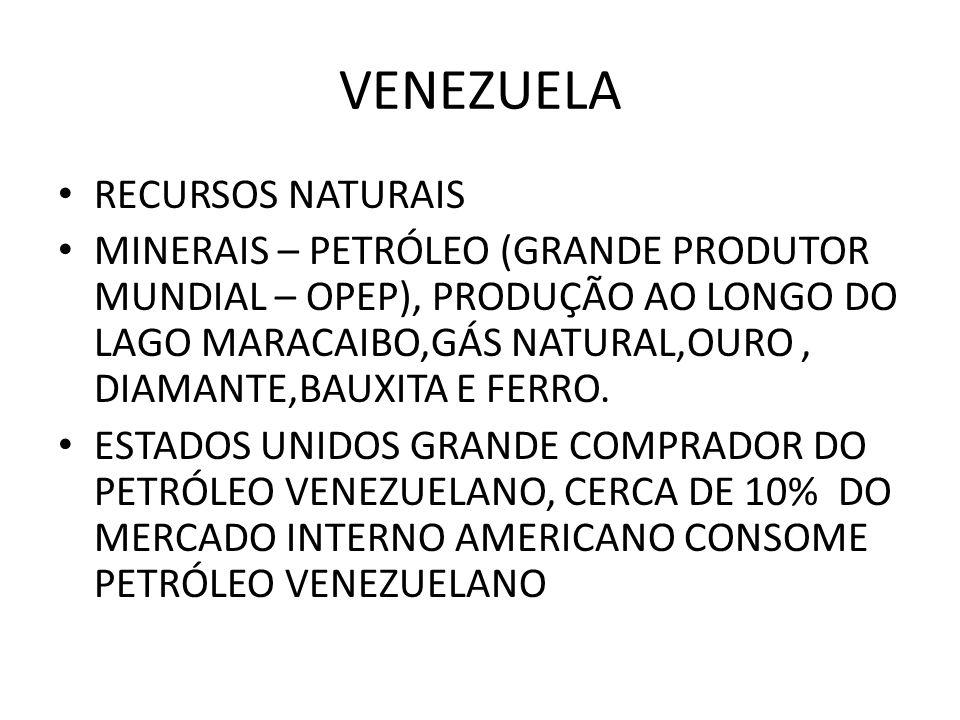 RECURSOS NATURAIS MINERAIS – PETRÓLEO (GRANDE PRODUTOR MUNDIAL – OPEP), PRODUÇÃO AO LONGO DO LAGO MARACAIBO,GÁS NATURAL,OURO, DIAMANTE,BAUXITA E FERRO